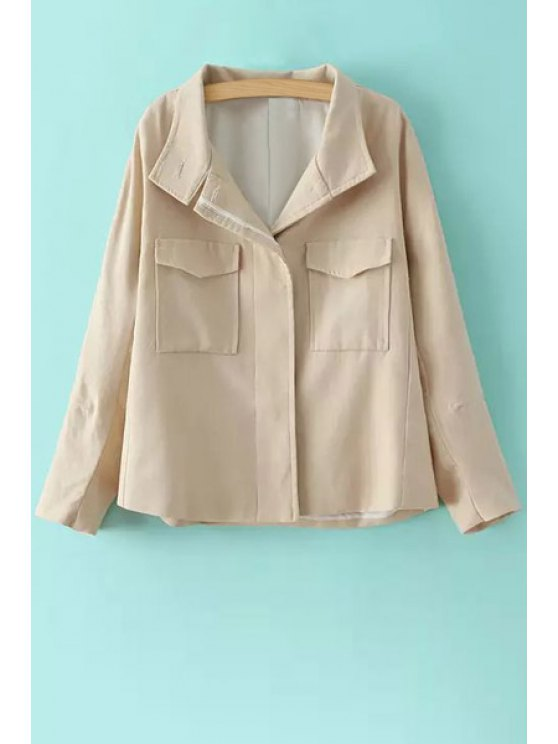 trendy Solid Color Stand Neck Long Sleeve Jacket - LIGHT KHAKI S