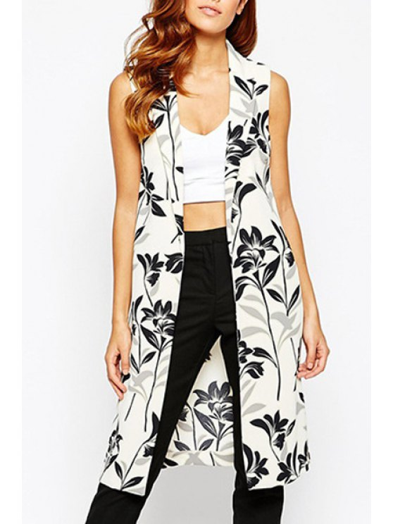 fancy Lapel Black Floral Print Sleeveless Waistcoat - WHITE AND BLACK S