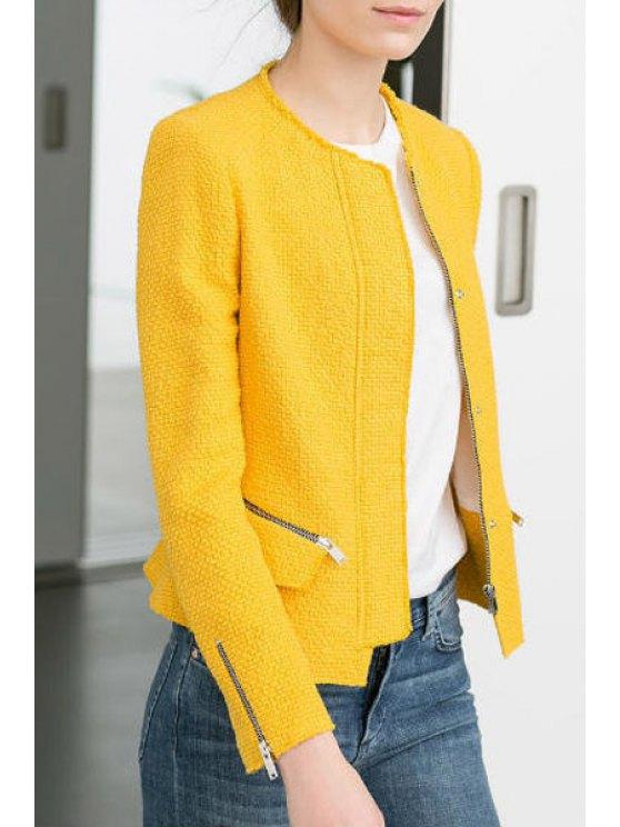 ladies Yellow Round Neck Long Sleeve Coat - YELLOW S