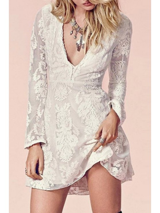 shops Embroidered See-Through Reversible Dress - OFF-WHITE S