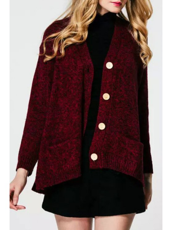 fancy Pure Color V Neck Long Sleeve Cardigan - WINE RED ONE SIZE(FIT SIZE XS TO M)