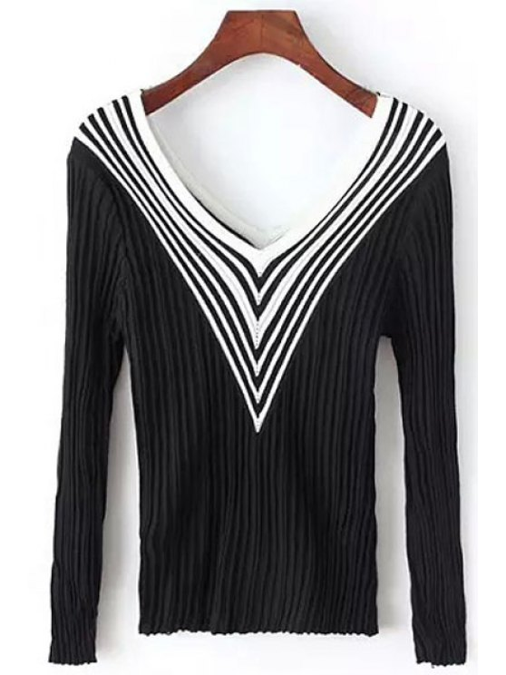 womens Stripes Spliced V Neck Long Sleeve Jumper - BLACK ONE SIZE(FIT SIZE XS TO M)