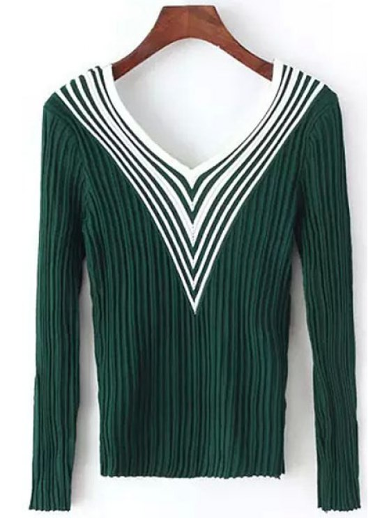 women Stripes Spliced V Neck Long Sleeve Jumper - GREEN ONE SIZE(FIT SIZE XS TO M)