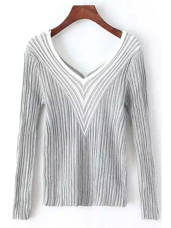 Stripes empalmados cuello en V manga larga puente - Gris Un tamaño(Montar tam