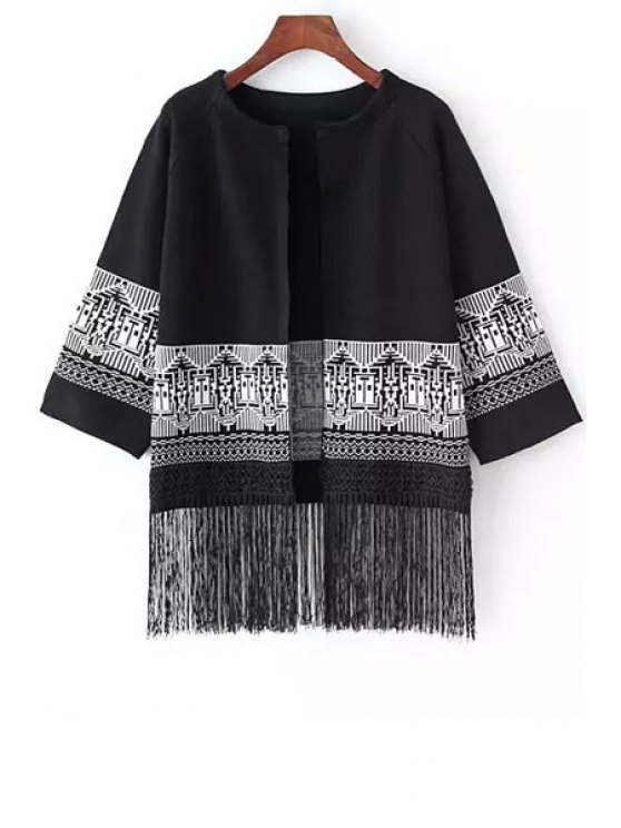 outfits Print Round Neck 3/4 Sleeve Coat - BLACK ONE SIZE(FIT SIZE XS TO M)
