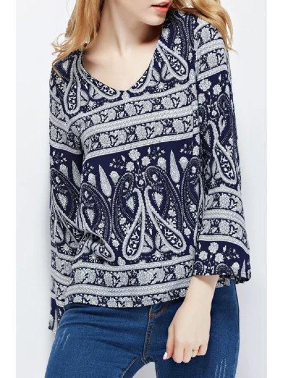 women V-Neck Blue Paisley Print Long Sleeve Shirt - PURPLISH BLUE S