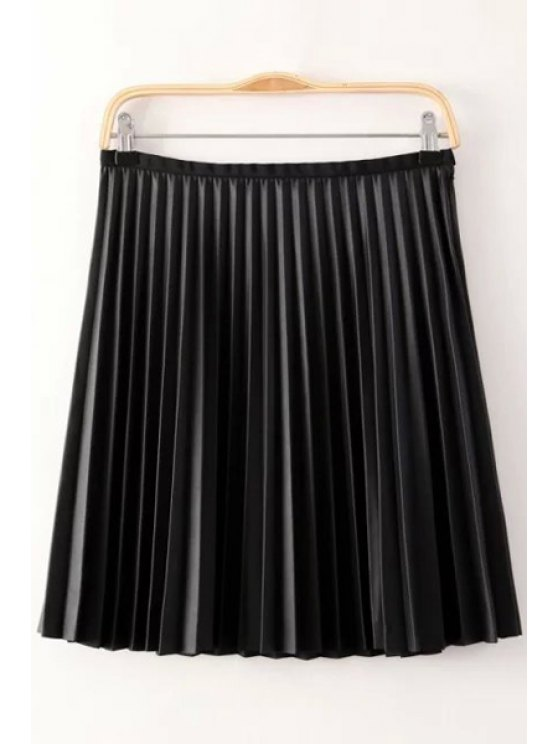 new Zipper Fly Faux Leather Pleated Skirt - BLACK S