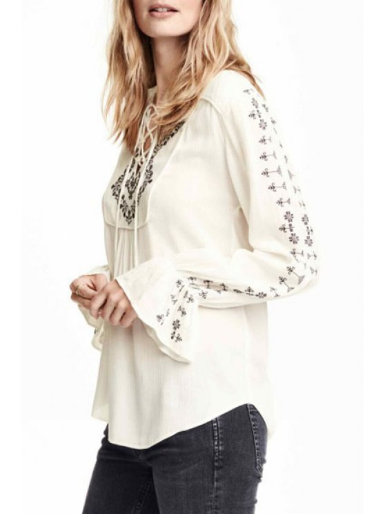 fashion Floral Embroidery V Neck Long Sleeve Blouse - WHITE S