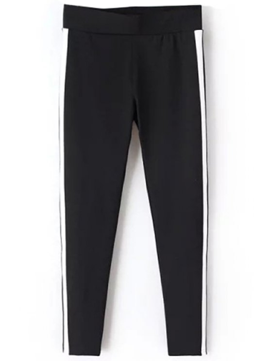 hot Faux Leather Spliced Narrow Feet Pants - BLACK S