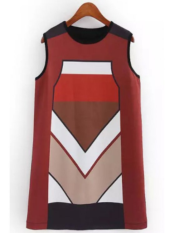 sale Color Block Round Collar Sundress - AS THE PICTURE S