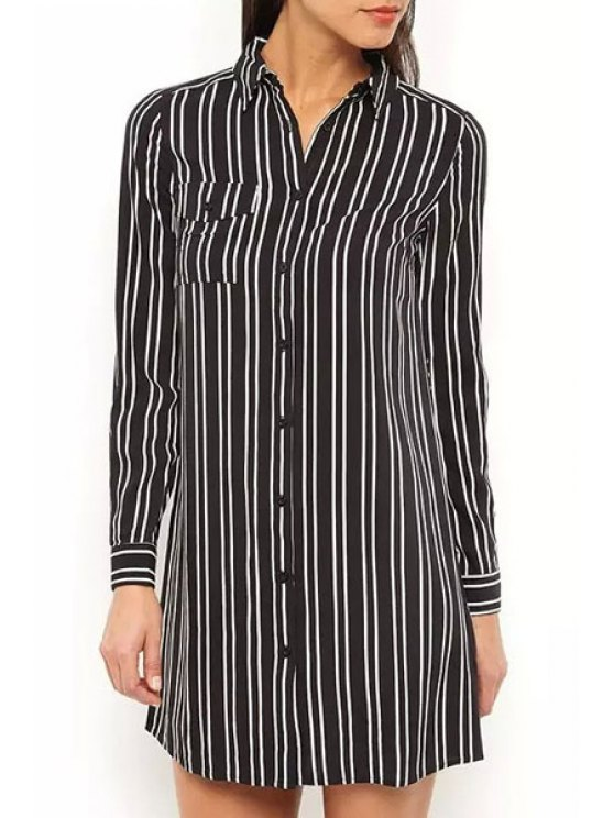 buy Striped Shirt Neck Long Sleeve Shirt - WHITE AND BLACK S
