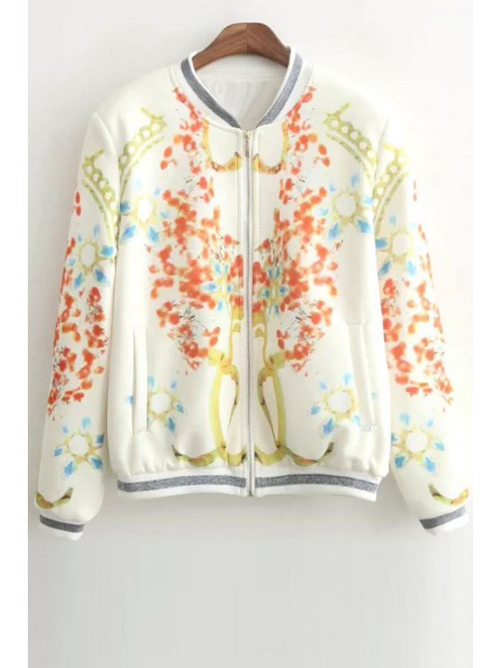 unique Abstract Print Stand Neck Long Sleeve Jacket - WHITE S