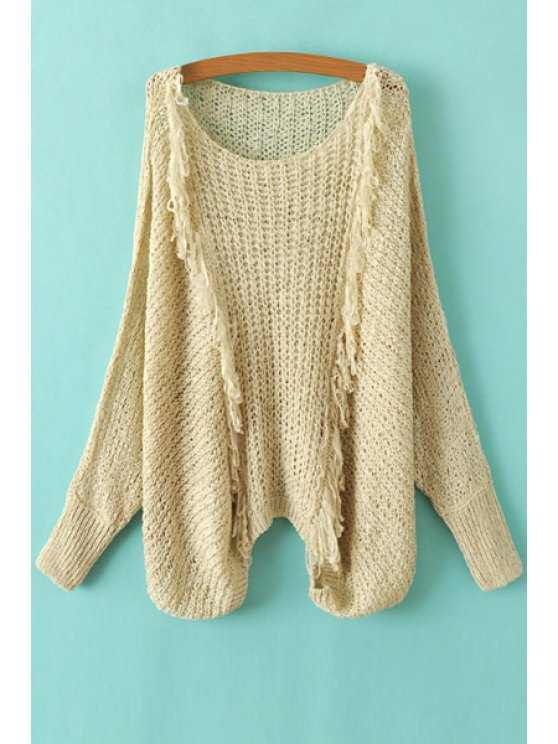 affordable Tassel Splicing Openwork Long Sleeve Sweater - KHAKI ONE SIZE(FIT SIZE XS TO M)