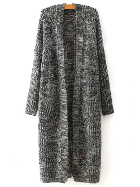 Cardigan de lana larga de dos bolsillos - Gris Un tamaño(Montar tam