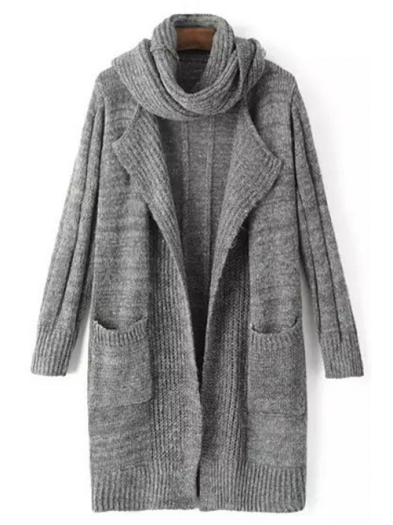 outfit Solid Color Stripe Long Sleeve Cardigan + Scarf - DEEP GRAY ONE SIZE(FIT SIZE XS TO M)