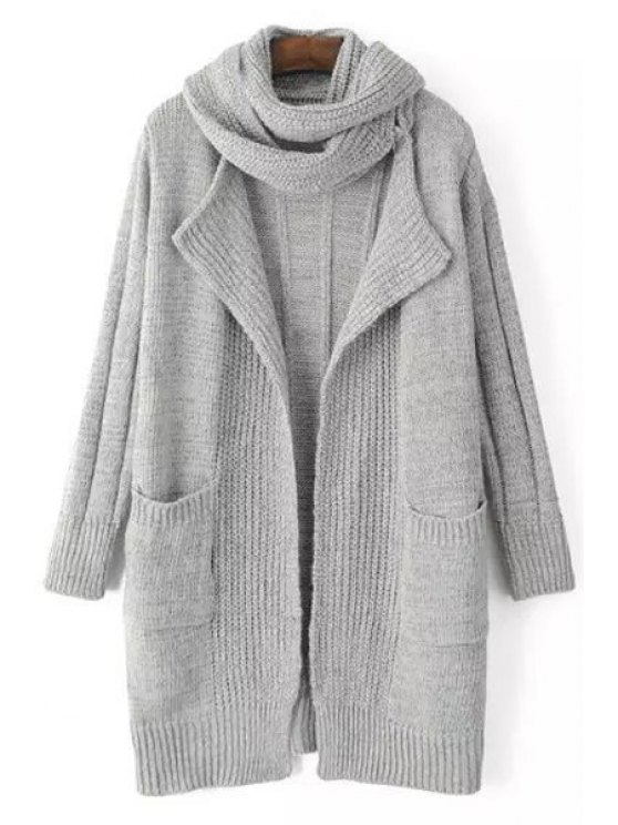 shop Solid Color Stripe Long Sleeve Cardigan + Scarf - LIGHT GRAY ONE SIZE(FIT SIZE XS TO M)