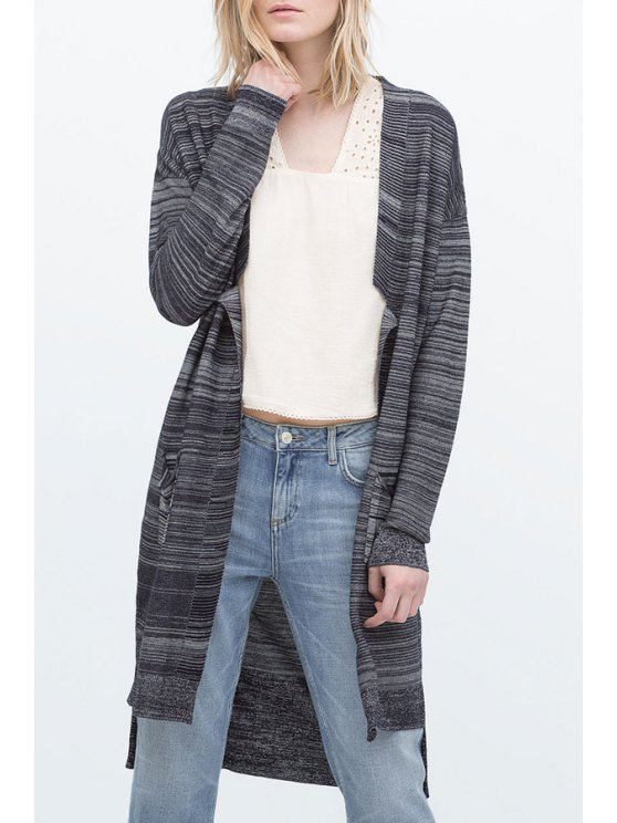 womens Open Front Two Pockets Long Cardigan - GRAY S