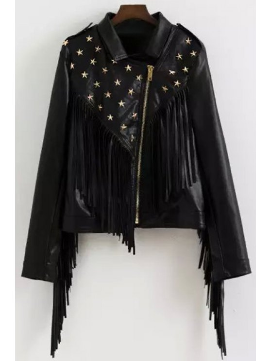 ladies Star Rivet Embellished Long Sleeve Coat - BLACK S