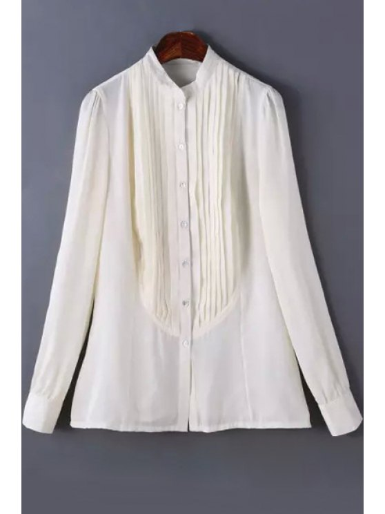 fashion Stand Neck Long Sleeve Pleated Shirt - WHITE S