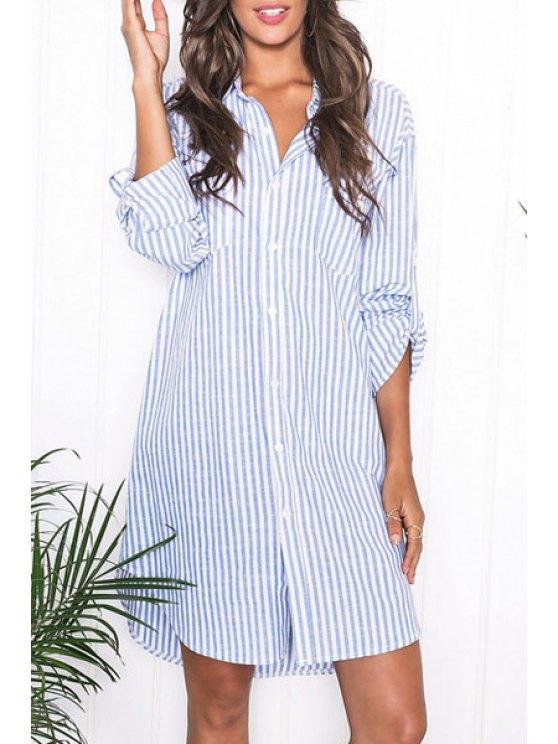 fancy Blue Stripes Turn Down Collar Long Sleeve Shirt - AZURE S