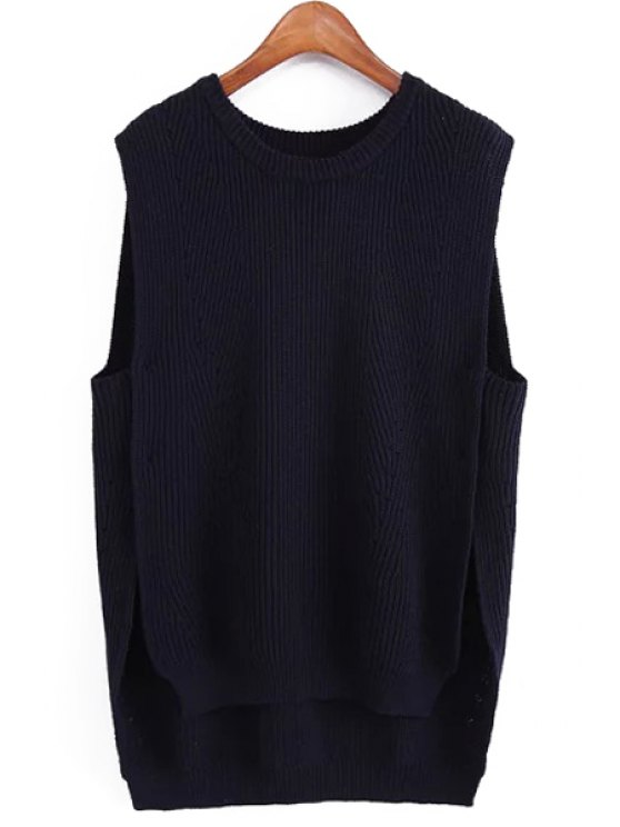 ladies Side Slit High Low Knitted Tank Top - PURPLISH BLUE ONE SIZE(FIT SIZE XS TO M)
