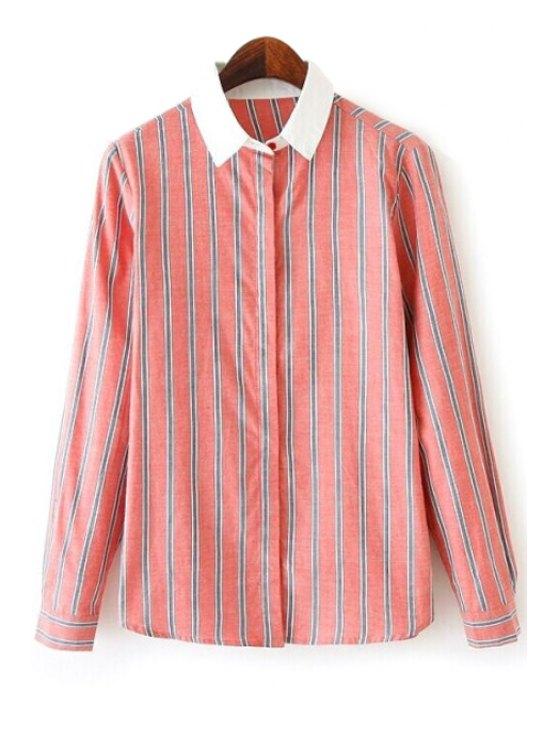 women Stripes Color Block Long Sleeve Shirt - ORANGEPINK S