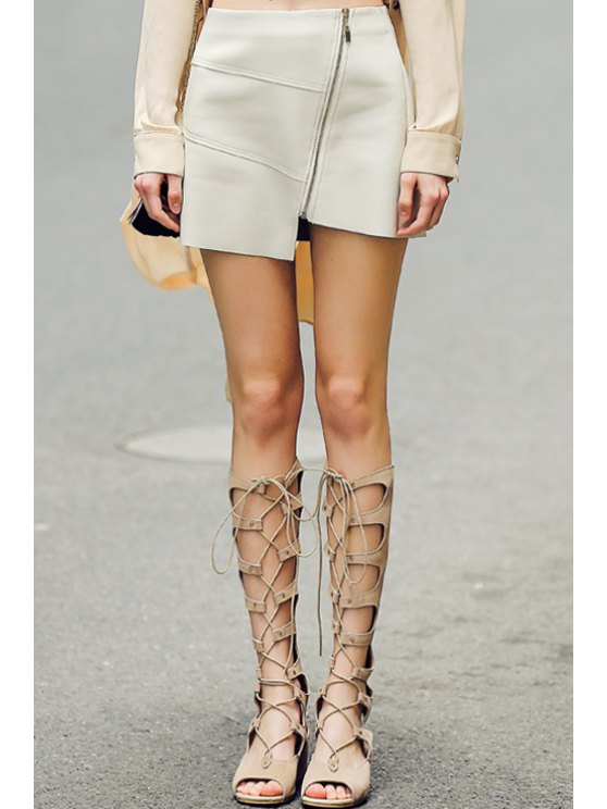 outfit Asymmetrical Solid Color PU Leather Skirt - WHITE S