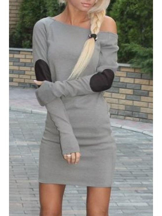 unique Slash Neck Elbow Patchwork Bodycon Dress - GRAY XL