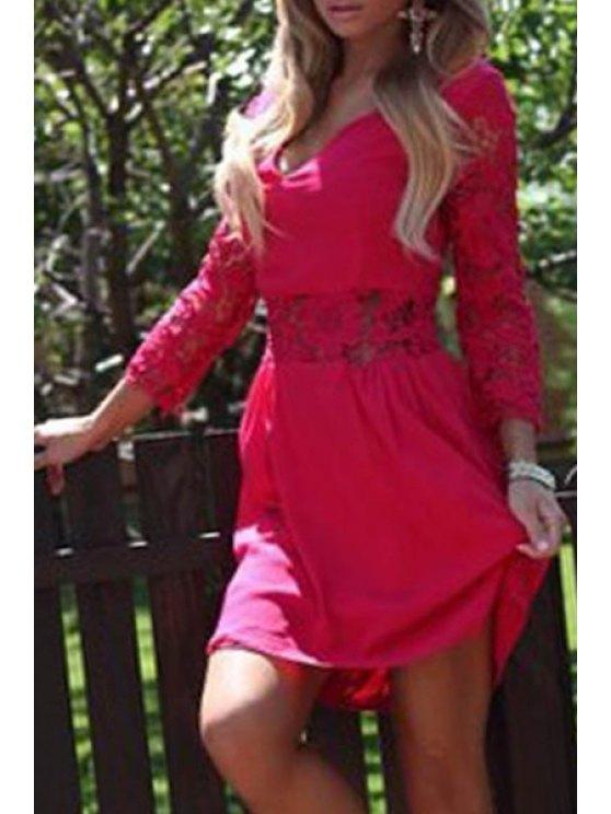womens 3/4 Sleeve Lace Patchwork Chiffon Dress - RED M