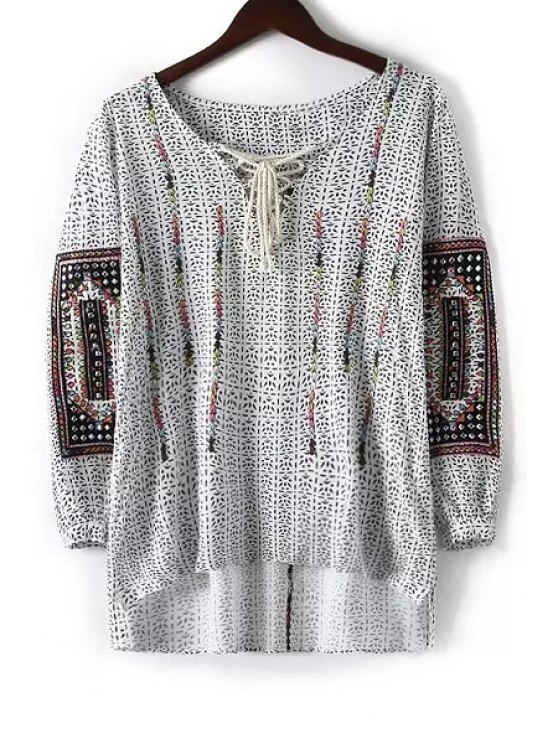 lady Colorful Embroidery High Low Long Sleeve Shirt - WHITE S