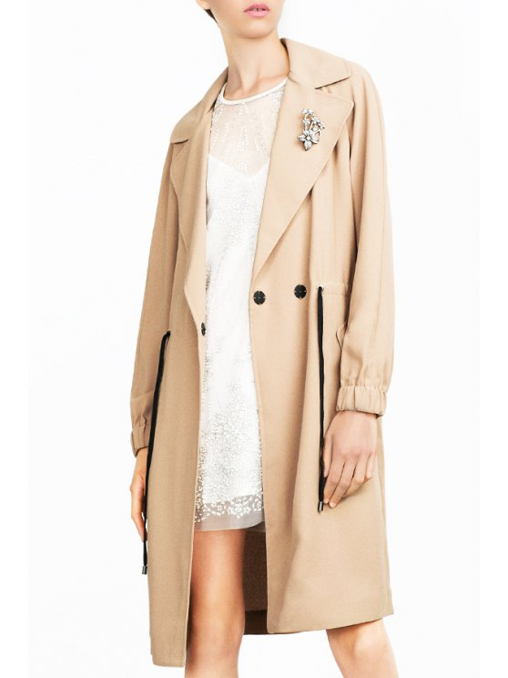 sale Lapel Solid Color Draw Cord Trench Coat - KHAKI S