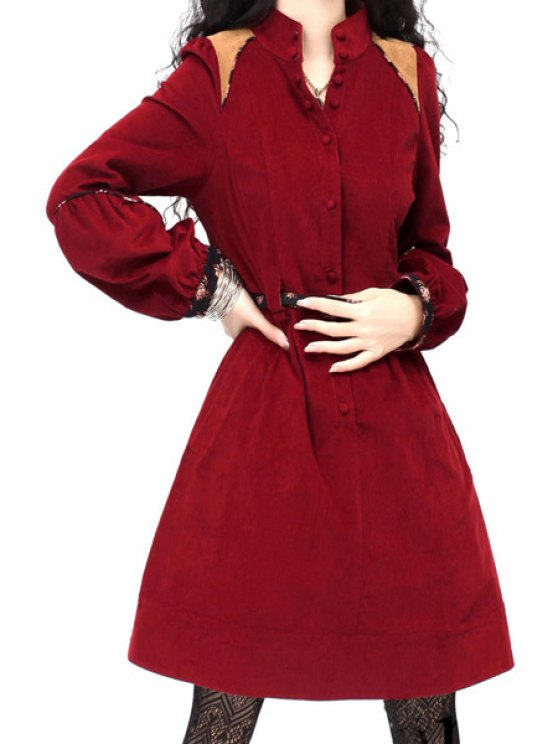 new Corduroy Single-Breasted Red Dress - RED S