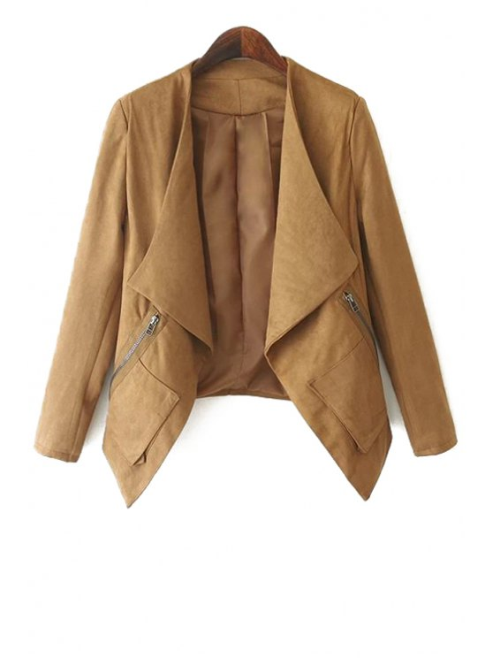 fancy Turn-Down Collar Solid Color Asymmetrical Coat - KHAKI S
