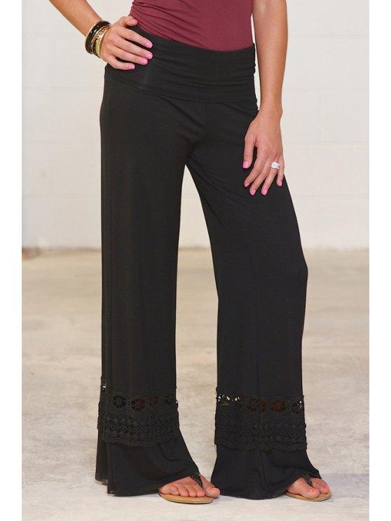 lady Wide Leg Lace Spliced Pants - BLACK S