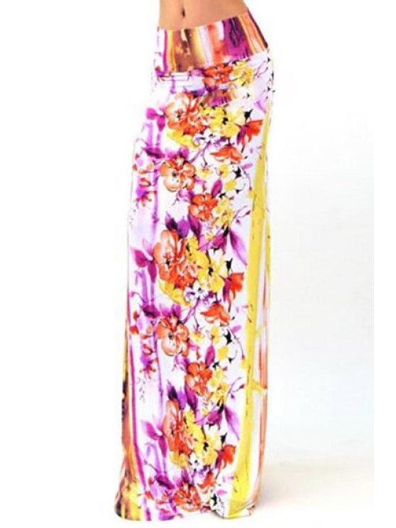 latest Packet Buttocks Plum Blossom Maxi Skirt - WHITE S