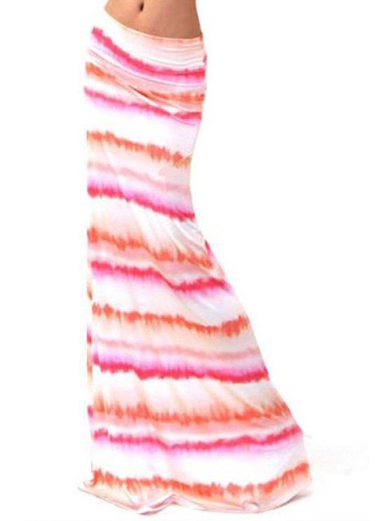 fancy Packet Buttocks Striped Long Skirt - WHITE S