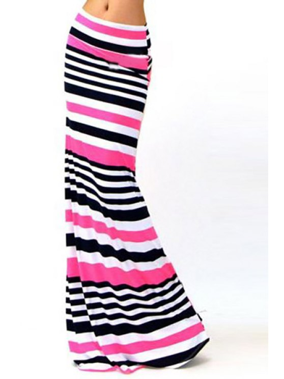 ladies Packet Buttocks Striped Maxi Skirt - COLORMIX S