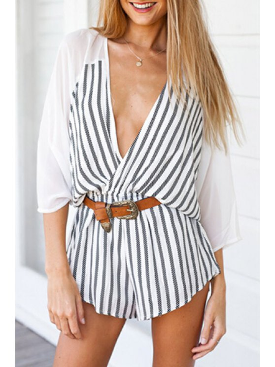 shop Striped Spliced Plunging Neck 3/4 Sleeve Playsuit - WHITE AND BLACK S