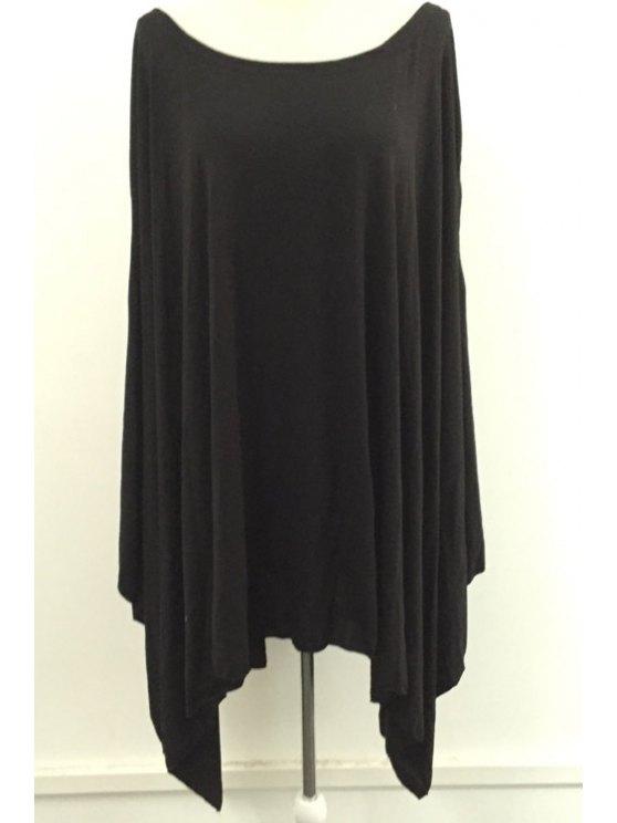womens Slash Neck Batwing Sleeve Asymmetric Dress - BLACK XS