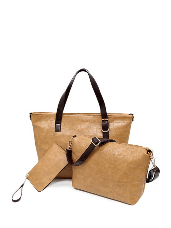 womens Zipper Buckle Solid Color Shoulder Bag - CAMEL