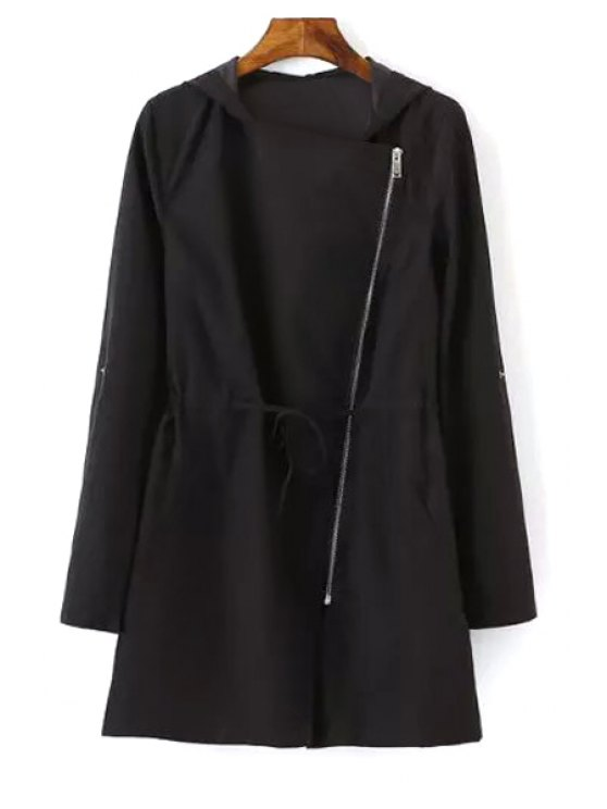 new Pure Color Hooded Long Sleeve Trench Coat - BLACK S