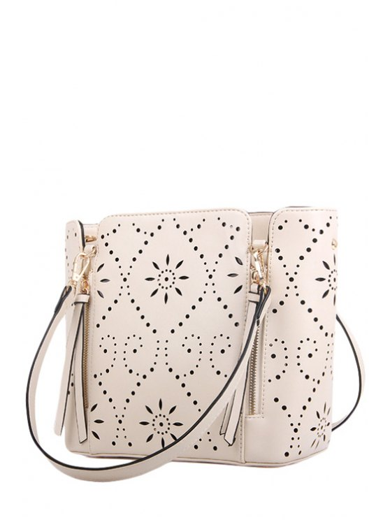 lady Hollow Out Flowers Rivets Shoulder Bag - OFF-WHITE