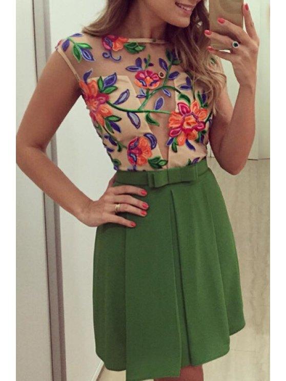 hot Organza Spliced See-Through Dress - GREEN S