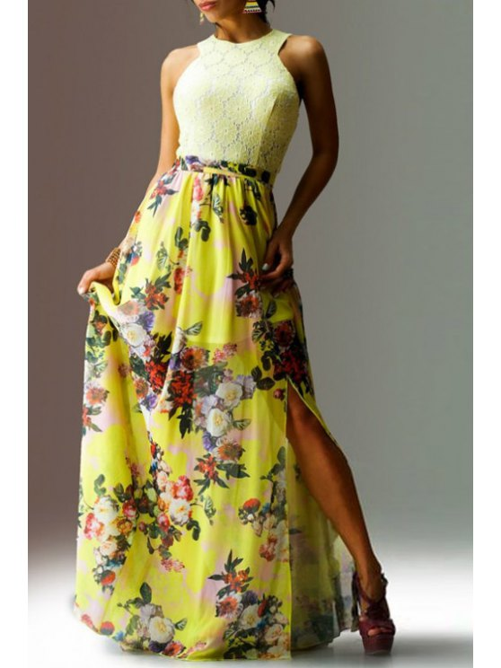 trendy Colorful Floral Print Lace Splicing Sleeveless Dress - YELLOW S