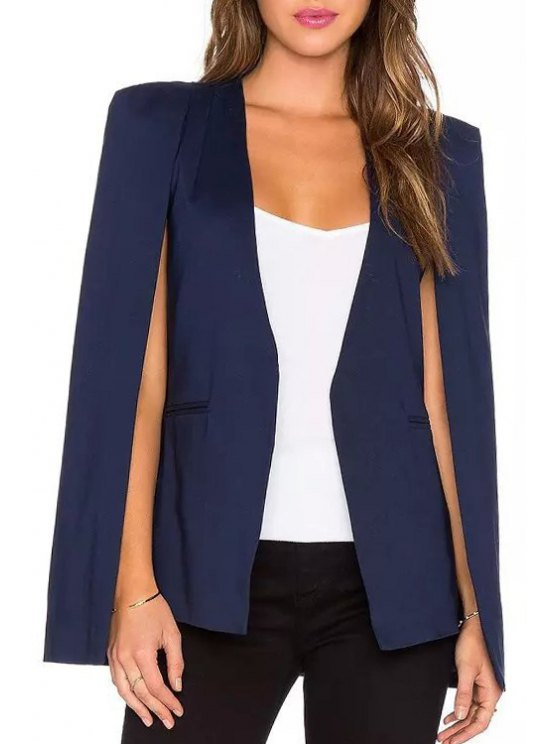 women Solid Color V Neck Blazer - PURPLISH BLUE S