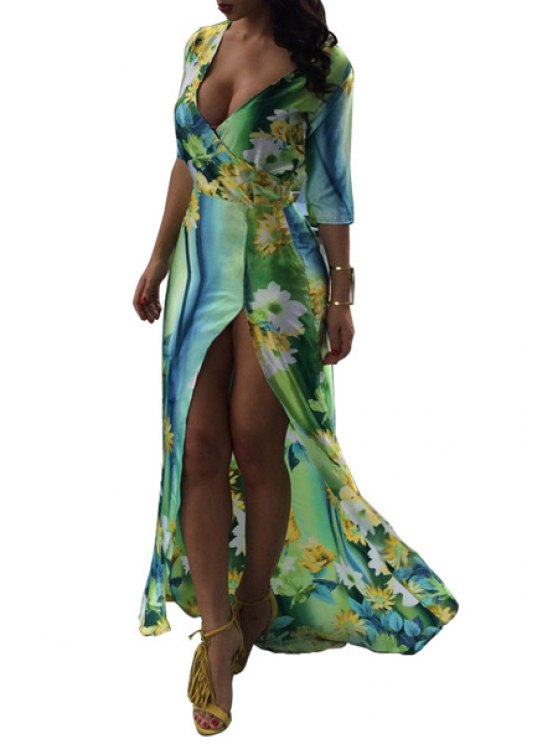 womens Floral Print High Split Half Sleeve Dress - GREEN M
