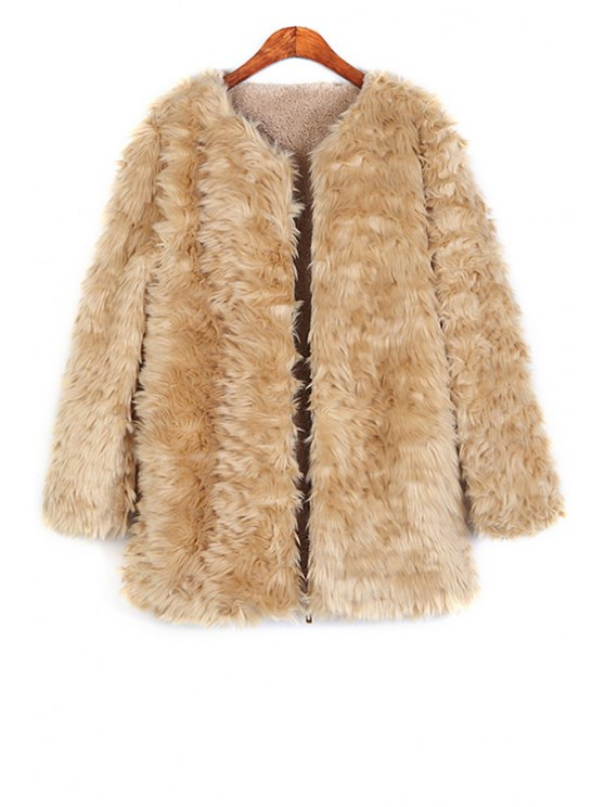 chic Thicken Fleece Lined Flocking Faux Fur Coat - KHAKI ONE SIZE(FIT SIZE XS TO M)