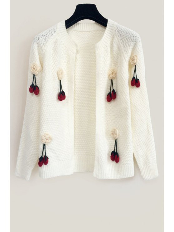 latest Round Neck Cherry Pattern Cardigan - WHITE ONE SIZE(FIT SIZE XS TO M)