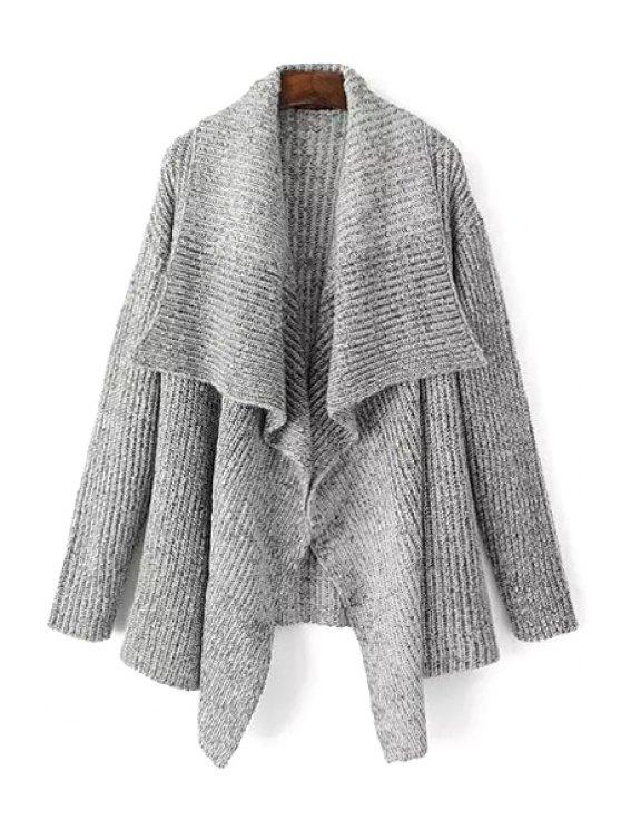 shops Gray Turn Down Neck Long Sleeve Cardigan - GRAY M