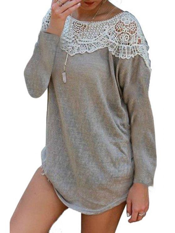 womens Scoop Neck Lace Splicing Openwork Long Sleeve Dress - GRAY S